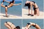 สาวเกาหลี นุ่งบิกินี เล่นโยคะริมชายหาด