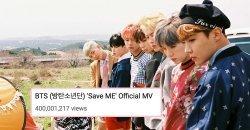 เพลง Save Me กลายเป็นเพลงที่ 8 ของ BTS ที่ได้ยอดวิว 400 ล้านวิว ใน YouTube