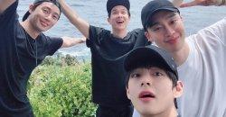 วี BTS แชร์ภาพใน ช่วงวันหยุดพักผ่อนกับ พัคซอจุน, ชเวอูซิก และอีกมากมาย