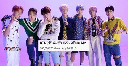 700 ล้าน เพลงที่ 4! เพลง IDOL กลายเป็นเพลงที่ 4 ของ BTS ที่มียอดวิว 700 ล้าน!