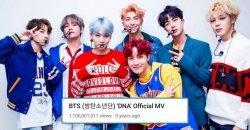 BTS สร้างประวัติศาสตร์ เพลง DNA กลายเป็นเพลงแรกของ บอยกรุ๊ป K-POP ที่ทะลุ 1.1 พันล้านวิว