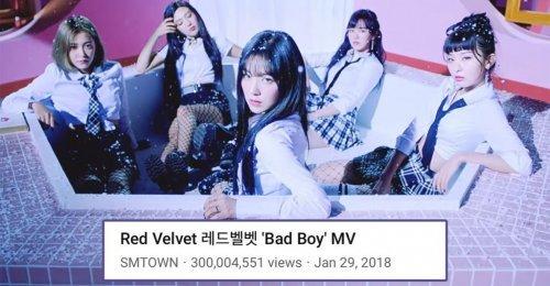 เพลง Bad Boy กลายเป็นเพลงแรกของ Red Velvet ที่คว้ายอดวิวทะลุ 300 ล้านวิว!