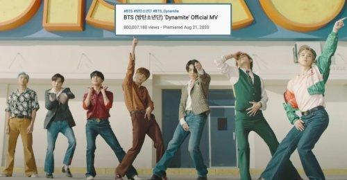 800 ล้านแตก Dynamite ทำสถิติใหม่ เป็นเพลงที่ 6 ที่ได้ยอดวิวทะลุ 800 ล้านของ BTS